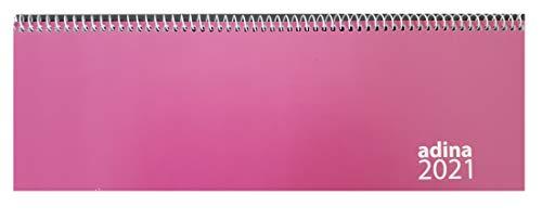Tischquerkalender 1 Woche auf 1 Seite Kartondeckel Schreibtischkalender Tischkalender Marke ADINA 30x10cm (pink, 2021)