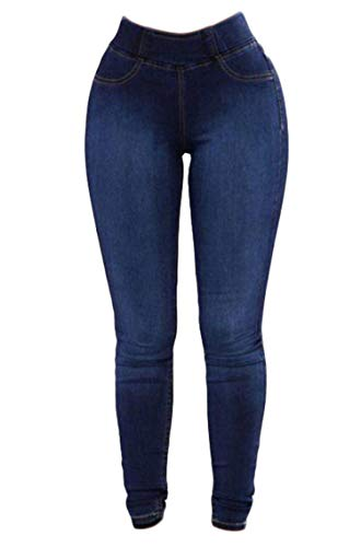 Find Discount Andongnywell Women's Plus Size High Waist Denim Jeggings Pants (Blue,Medium)