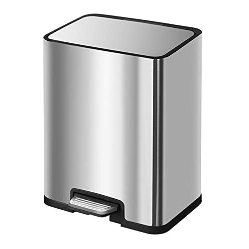 Cubo de Basura Rectangle Step Botash Poder, Pedal de metal, Metal de acero inoxidable Pasta de basura de metal para el hogar y la cocina, uso interior / exterior papelera de oficina, cocina o baño Bas