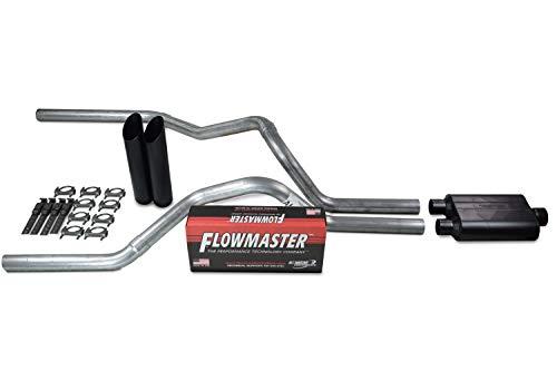 Truck Exhaust Kits - Shop Line dual exhaust system 2.5 AL pipe Flowmaster 40 2.5' Black Slash Cut Weld on Tip