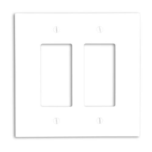 Leviton 88602 2-Gang Decora/GFCI Device Decora Wallplate, Oversized, Thermoset, Device Mount, White