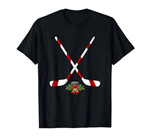 Funny Ice Hockey Christmas Shirt Candy Stick Gift Kids T-Shirt