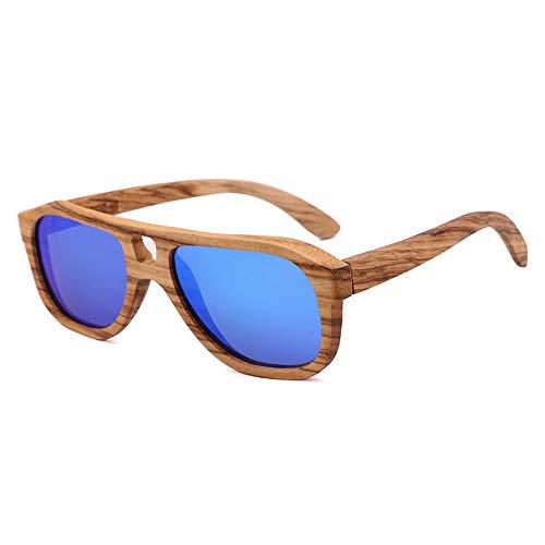 Lbyhning Houten gepolariseerde zonnebril, vintage bamboe houten bril, ultralicht, 100% UV-bescherming, geschikt voor UV400 oogbescherming, mannen en vrouwen B