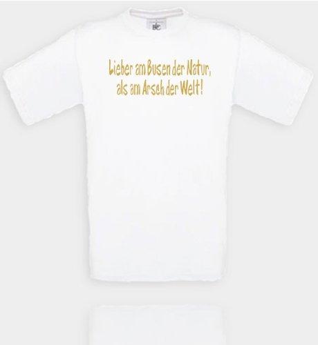 Comedy Shirts Diverse Couleurs – Cher Le Seins la Nature en Tant Que Le Cul Le Monde. Unisexe Medium Blanc/doré