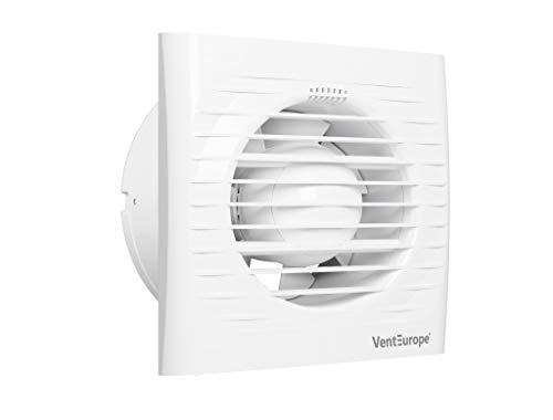 VENTEUROPE- Ventilador de baño Ø100 mm con Compuerta antirretorno+Mosquitera 97 m3 /h,Motor eléctrico de CA de 10 vatios,Ideal para baño,cocina, (VE100-S-C Ø 100 mm-Extractor de baño)