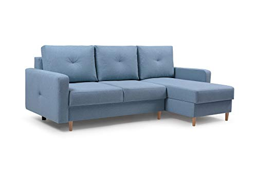 Ecksofa mit Schlaffunktion Eckcouch mit 2 X Bettkasten Sofa Couch L-Form Polsterecke Madison (Blau, Ecksofa Rechts)