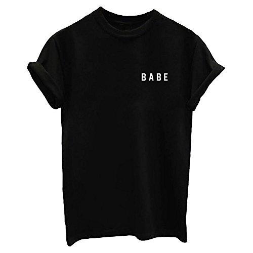YITAN Letter Funny O Neck Women T Shirts Top Black X-Large