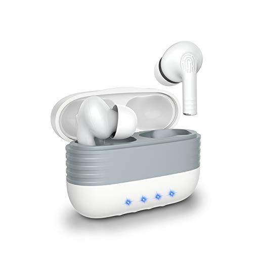 Auriculares inalámbricos con funda de carga inalámbrica y micrófono verdaderamente inalámbricos, portátiles, impermeables, con control táctil, auriculares Bluetooth para Android (blanco)