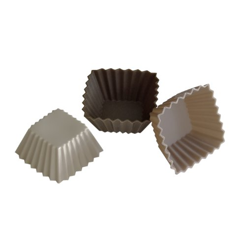 YooCook YC38800 Lot de 12 Caissettes Rectangulaire Silicone Lin/Taupe/Marron