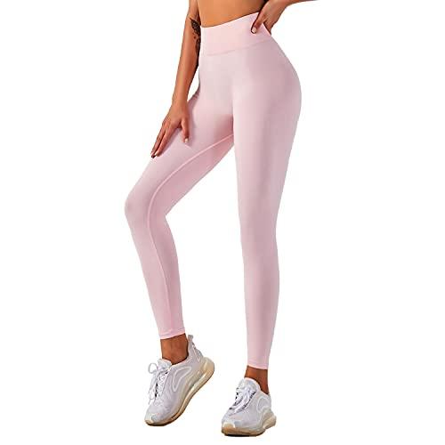 QTJY Pantalones de Yoga elásticos Sexis Suaves para Mujer, Medias de Cintura Alta a la Cadera, Push-ups sin Costuras, Celulitis, Ejercicio, Gimnasio, Pantalones de chándal A S