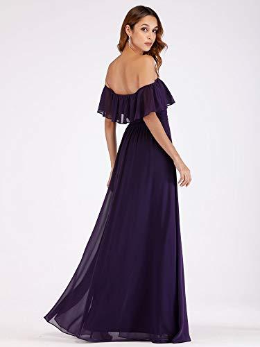 Ever-Pretty A-línea Vestido de Noche Verano para Mujer Morado Oscuro 38