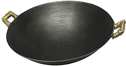 Binaural Cast Iron Wok, Traditional Hand Hammered Pan - Durable, Thickened Uncoated Cast Iron Pot, Round Bottom, Pointed B...