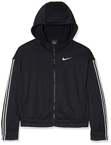 Nike Mädchen G NK HOODIE FZ STUDIO Sweatshirt,Schwarz (Black/Metallic Silver), M