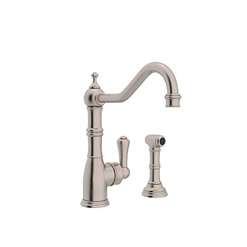 Rohl U.4746STN-2 Perrin and Rowe Single Hole Single Lever Aquitaine Kitchen Faucet with Sidespray Rinse in Satin Nickel