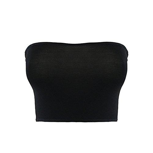 TININNA - Sujetador sin tirantes para mujer, sin costuras, color negro