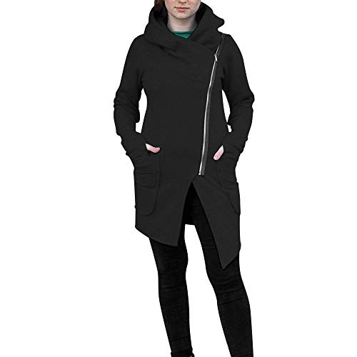 GOKOMO Jacke Mit Tasche Am Bauch Damen Jacke Damen Klein üBergangsjacke Winterjacke Revers ReißVerschluss Einfarbig FüR FrüHling Herbst Winter(Schwarz,Medium)