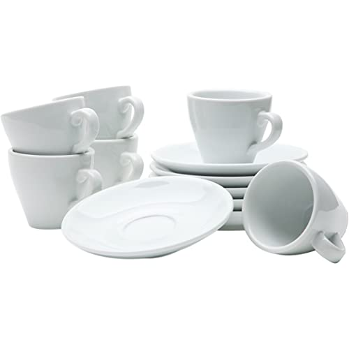 Gastro Spirit - 12 teiliges Espresso-Tassen - Weiß, 90 ml, Porzellan, dickwandig, spülmaschinenfest - italienisches und zeitloses Design