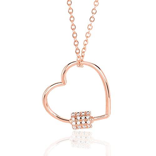 Collar Colgante Cadena Collares Hombre Mujer Collar Amor Romántico Collares En Forma De Corazón Colgante De Circonita De Cristal Exquisito Colgante De Oro Rosa Clavícula Gargantill