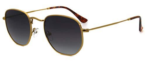 RICH MODE Occhiali da sole polarizzati piccoli Donne e uomini Occhiali da sole quadrati esagonali vintage Protezione UV400 (naselli in cristallo)