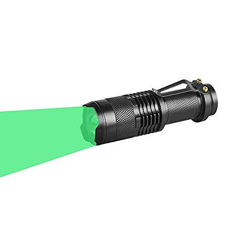 Linterna Verde, WESLITE Mini Linterna LED Luz Verde 1 Modo Zoom Linterna Caza Verde para con Clip de Largo Alcance para Visión Nocturna, Pesca, Caza (Batería no Incluida)