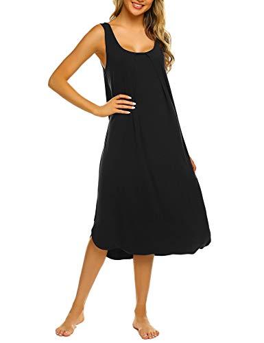 Ekouaer Tank Nightgown Sleeveless Sleepshirt Women Maxi Nightdress Black Large