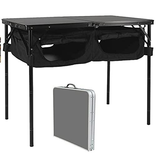 Mesa De Camping Plegable con Organizador De Almacenamiento, Mesa De Picnic Portátil con 2 Alturas Ajustables para Picnic,Campamento,Playa,Barco (Color : Black)