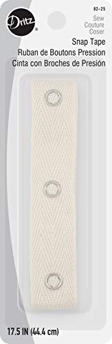 Dritz 82-25 Fastener Tape with 12 Snaps, 17-1/2-Inch, Beige