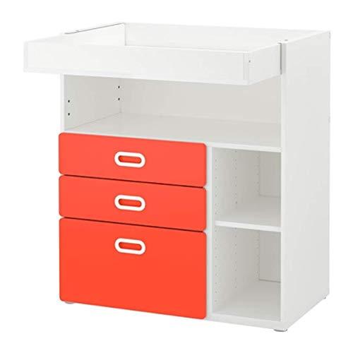IKEA Stuva/Fritids 292.531.67 - Mesa cambiadora con cajones, color blanco y rojo, tamaño 35 3/8 x 31 1/8 x 40 1/8 pulgadas