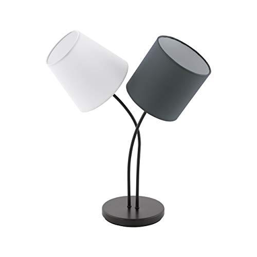 EGLO Tischlampe Almeida, 2 flammige Textil Tischleuchte, Nachttischlampe aus Stahl und Stoff, Farbe: Schwarz, anthrazit, weiß, Fassung: E14, inkl. Schalter