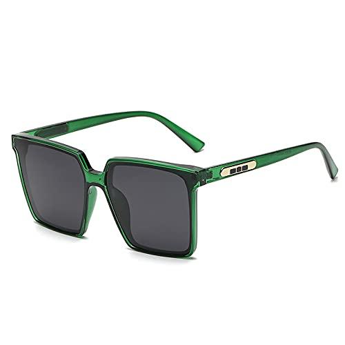 XINMAN Gafas De Sol De Moda con Caja De Todo Fósforo, Gafas De Sol Cuadradas Polarizadas, Moda Callejera, Gafas De Sol A Prueba De Viento, Marco Verde Transparente, Película Gris Negra