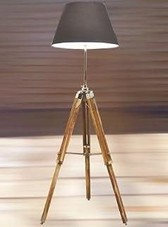 Lámpara de pie de madera estilo vintage, trípode ajustable, color plateado
