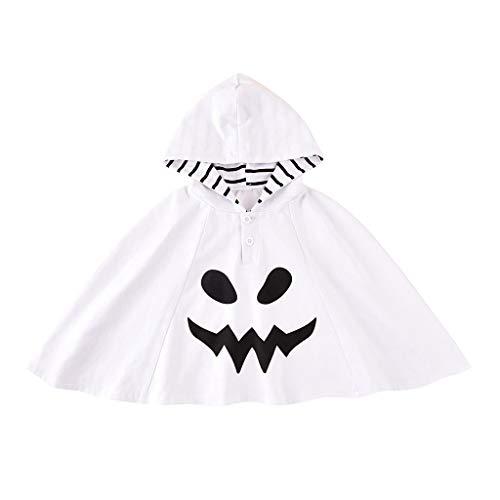 Baby Mädchen Umhang mit Dämonendruck Halloween Ghost Prints Tops Gestreifter Kapuzenmantel Langarmshirts Kapuzenoberteil, Weiß, 1-2 Jahre