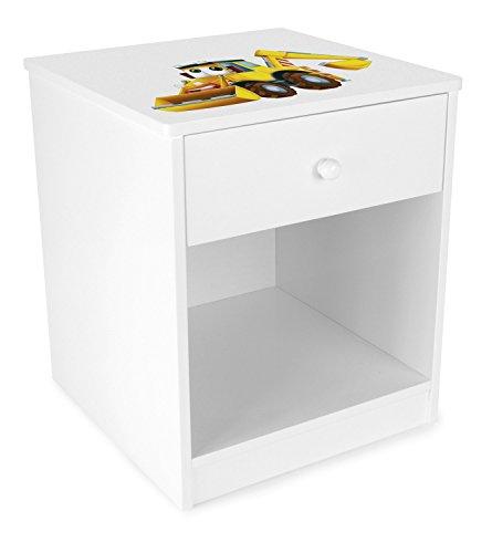 Leomark Chevet avec Un Tiroir Blanc Table de Nuit casier avec 1 tiroir et 1 Niche Petite Commode de Nuit pour Enfant Hauteur 40 cm Motif Excavatrice