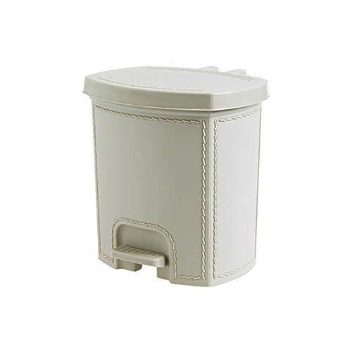 Cttiuliljt Trash Can-Lederimitat-Trash Can Fußpedal Typ Papierkorb Kunststoff-Mülltonne Küche Wohnzimmer Garbage Lagerplatz Can (Color : Beige S)