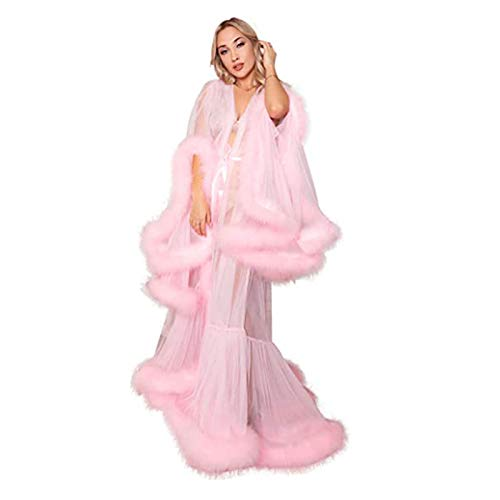 TGCF Damen Kimono Sexy Feder Roben Morgenmäntel Hausmantel Nachtwäsche Sexy Dessous Langes Strandkleid mit Gürtel,Rosa