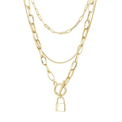 WDBUN Collar Colgante Joyas Collar Europeo y Americano para Mujer, Collar con Colgante de Bloqueo con Hebilla OT, Collar de Metal Multicapa, joyería Regalos Originales para Mujer Hombre