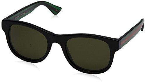 Gucci GG0003S 002 Occhiali da Sole, Nero (Black/Green), 52 Uomo