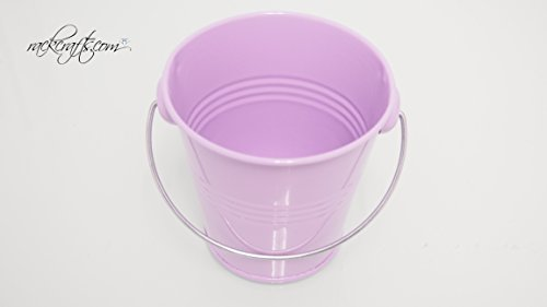 rackcrafts.com Large / XL Metal Sand Water Paint Pails Buckets Party Favor Wedding Baby Shower (L - Lavender)