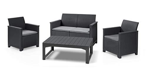 Koll Living Garden Lounge-Set Emma mit Lyon Tisch, 4-TLG. Graphit, 2-Sitzer Sofa, 2 Sessel & höhenverstellbarer Tisch - ansprechende Sitzgruppe in naturgetreuer Rattanoptik