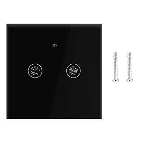 Qinlorgo Interruptor táctil de Pared, Interruptor WiFi, Diseño Elegante Antienvejecimiento Buena(Black Cover 2 Road)