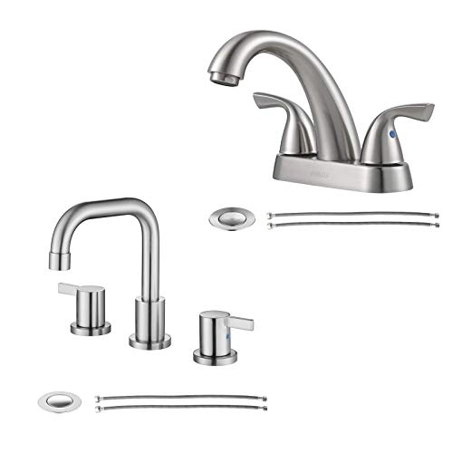 Brushed Nickel Two Handles Bathroom Faucet Bundle with Widespread Faucet