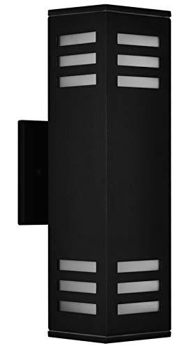 Lámpara de pared para exteriores, con certificación ETL, moderna lámpara de pared exterior, impermeable, para jardín y patio, color negro con gafas esmeriladas
