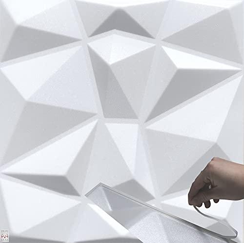 5qm / 3D Wandpaneele !!!Selbstklebend!!! Wandverkleidung Deckenpaneele Platten Paneele DIAMANT Weiß POLYSTYROL MATERIAL (5qm = 20Stück)