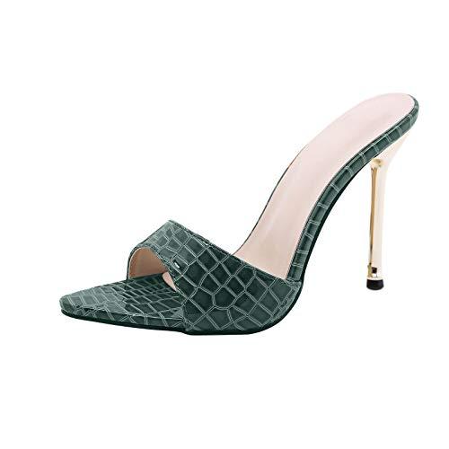 Dampumps sandalett med hög klack Slingback Peep Toe Slip On tofflor toffel bröllopsskor kväll party klänning skor höga klackar, - 1 grön - 40 EU