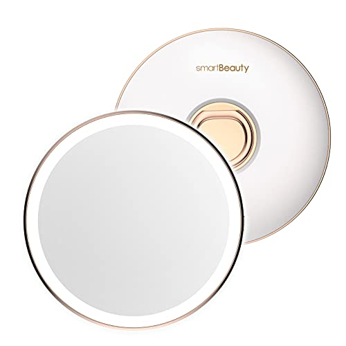 TOUCHBeauty 4'' Portable LED Mirror, Vanity Mirror with Lights, USB Rechargeable Makeup Mirror with Finger Ring Stand & Leather Case, Smart Sensor Ring Light with 3 Brightness Levels, 1x Magnification