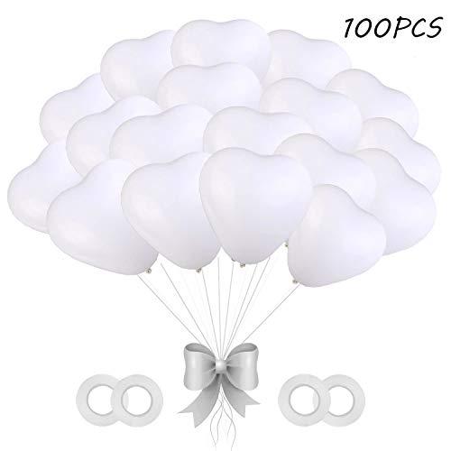 O-Kinee Luftballons Hochzeit, 100 Stück Herzluftballons Weiß, Herz Luftballons,Latex Herz Ballon Helium 12 Zoll für Hochzeit Verlobung Valentinstag JGA Party Deko (Weiß)
