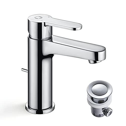 CECIPA Waschtischarmatur mit Zugstange Ablaufgarnitur Auslaufhöhe 112mm Wassersparfunktion Badarmatur Hochdruck Wasserhahn Bad Messing inkl. Zubehör