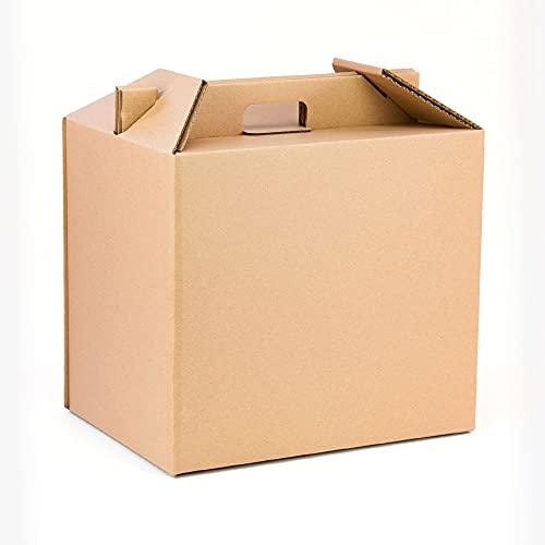 Pack 4 cajas con asas para botellas y lotes de navidad Color Marrón| Estuche cesta capacidad 12 botellas o regalos | Muy resistente a golpes | cartón reciclado