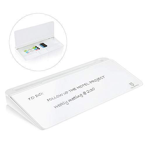 Small Glass Desktop Whiteboard Dry-Erase-Board - Computer Keyboard Stand White Board Surface Pad with Drawer, Desk Organizers with Accessories for Office, Home, School Supplies