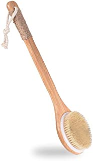 Sincher Dry Bath Body Brush Back Scrubber with Anti-slip Long Wooden Handle, Body Massager, Perfect for Exfoliating, Detox...